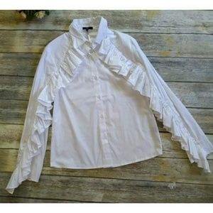 DREW Ruffled Button Up White Top